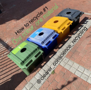 Separate recycling bins for different materials